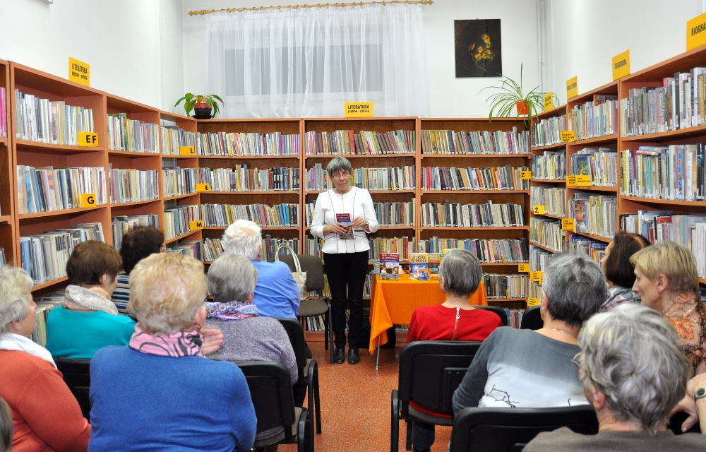 Jolanta Szwalbe na spotkaniu w Gliniance